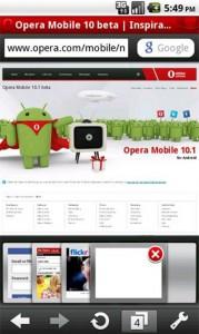 Opera Mobile 10.1 beta pentru Android