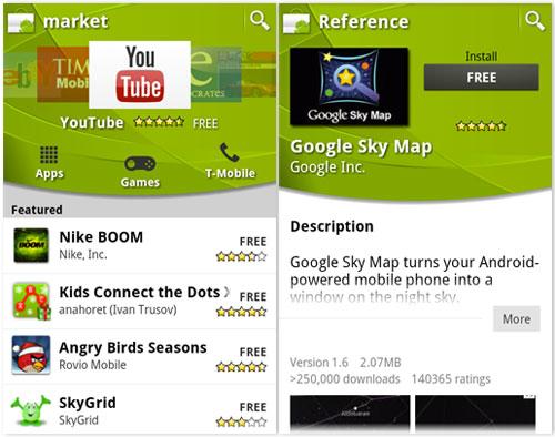 Noua interfata Android Market