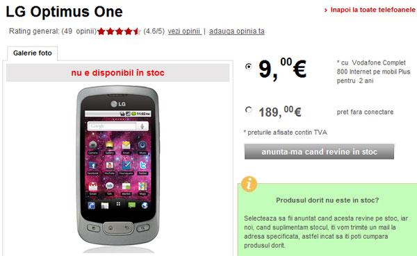Stoc epuizat de LG Optimus One la Vodafone Romania