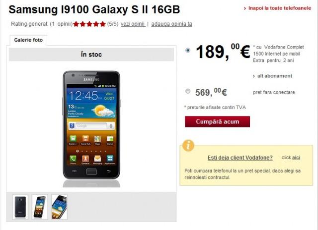 Samsung Galaxy S II in oferta Vodafone