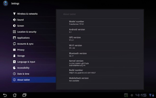 ASUS Transformer cu update la Android 3.1