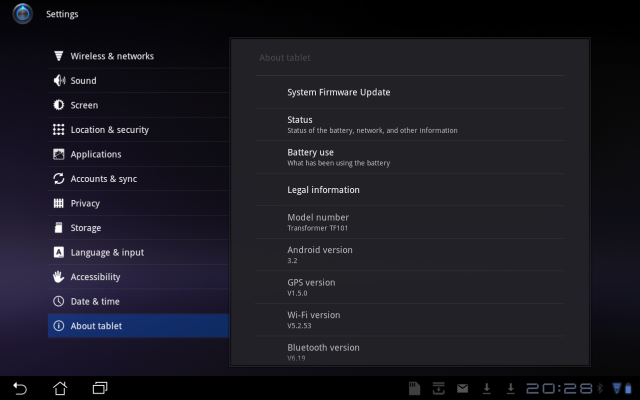 Update Android 3.2 pe ASUS Transformer
