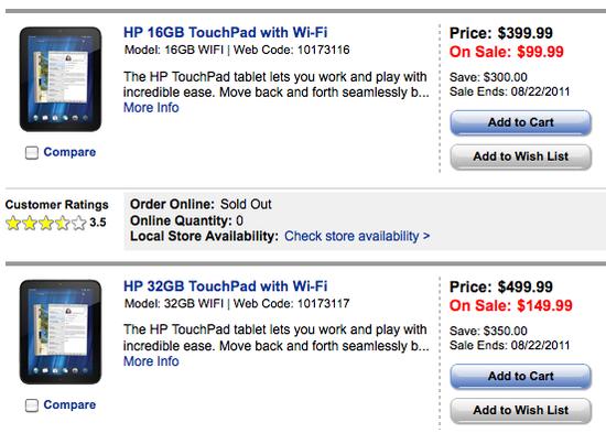HP TouchPad lichidari stoc