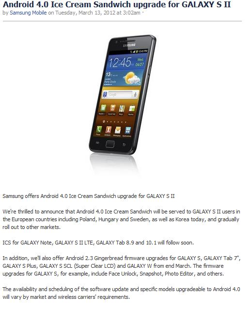 Samsung Galaxy S II a trecut la ICS
