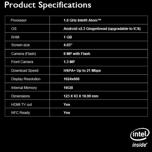LAVA XOLO X900 specificații