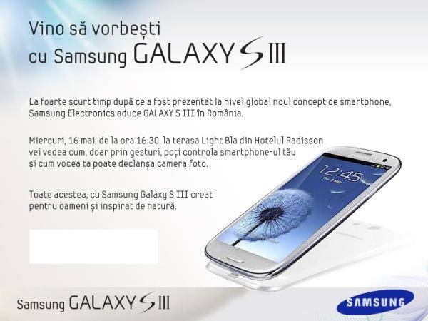 Invitatie conferinta Samsung Galaxy S 3