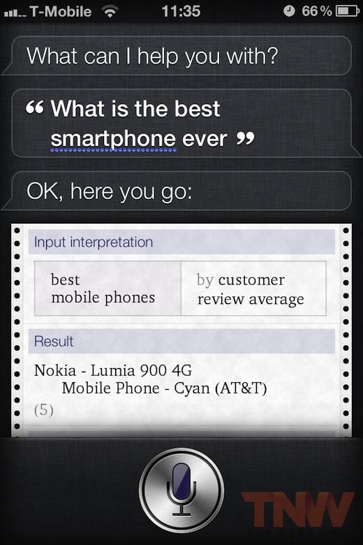 Siri crede ca Nokia e cel mai bun telefon