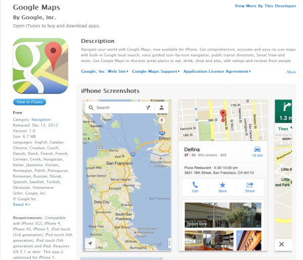 Hărțile Google Maps sunt disponibile în App Store