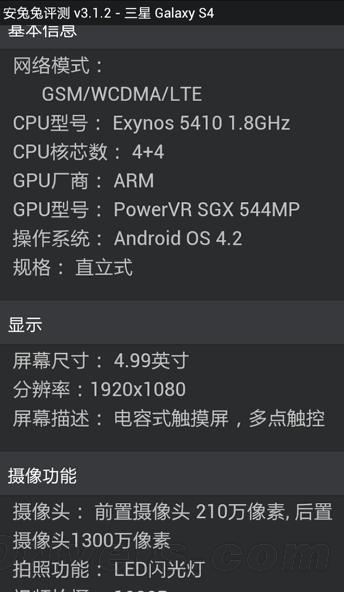 Benchmark Samsung Galaxy S4 Antutu