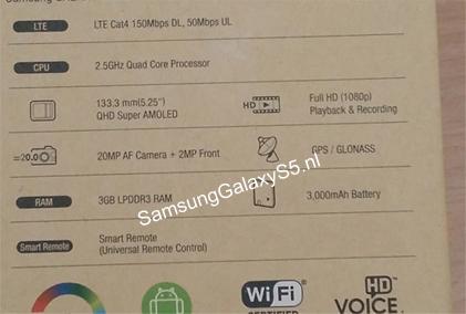 Ambalajul cu specificațiile modelului Galaxy S5