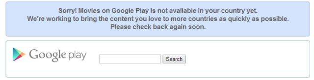 Google Play Movies nu este  disponibil în România