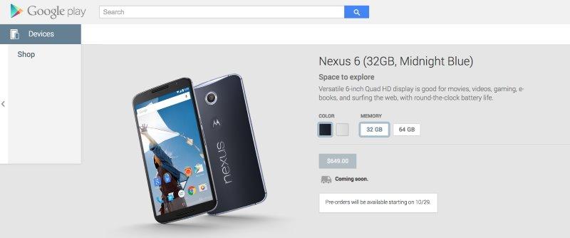 Google va accepta comenzi pentru noul Nexus 6