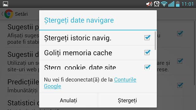 Ștergeți datele de navigare din Chrome