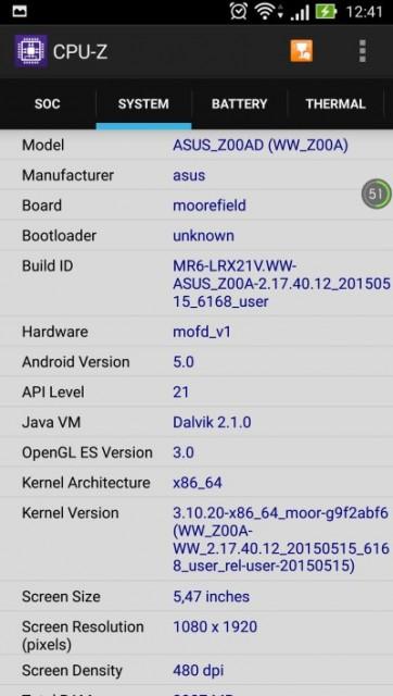ASUS Zenfone 2 CPU-Z