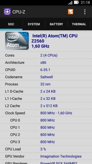 Identificare hardware cu CPUZ pentru ASUS Zenfone 2 ZE500CL