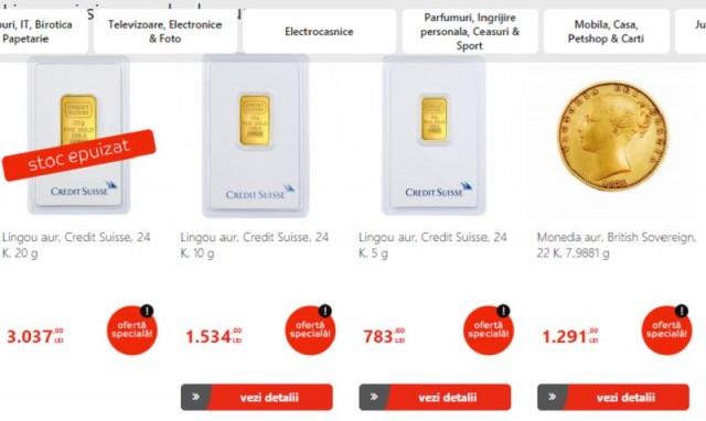 Lingouri și monede de aur la Emag