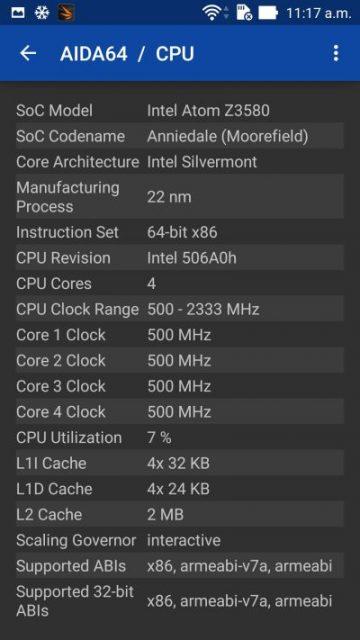 Procesor Intel Atom Z3580 - Zenfone Zoom - soft Aida64